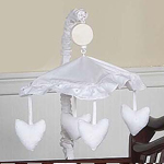 White Eyelet Musical Crib Mobile