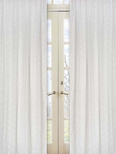 White Eyelet Window Treatment Panels - Set of 2 - Click to enlarge