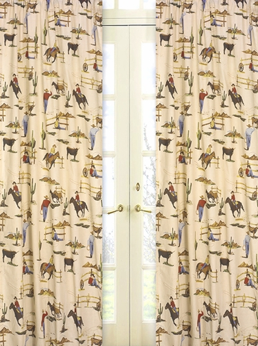 Wild West Cowboy and Horses Print Window Treatment Panels - Set of 2 - Click to enlarge