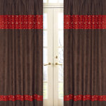 Wild West Cowboy Chocolate and Bandana Window Treatment Panels - Set of 2