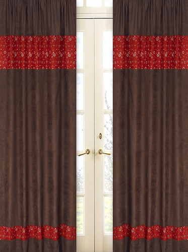 Wild West Cowboy Chocolate and Bandana Window Treatment Panels - Set of 2 - Click to enlarge