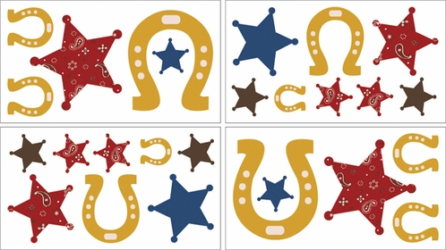 Wild West Cowboy Western Baby and Kids Wall Decal Stickers - Set of 4 Sheets - Click to enlarge