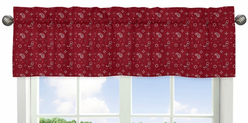 Red Bandana Window Valance for Wild West Cowboy Western Collection by Sweet Jojo Designs - Click to enlarge