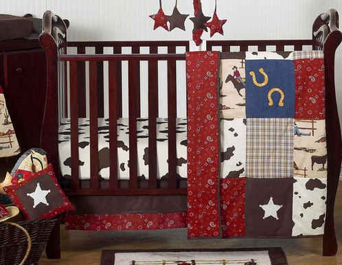 Wild West Western Horse Cowboy Baby Bedding - 11pc Crib Set - Click to enlarge