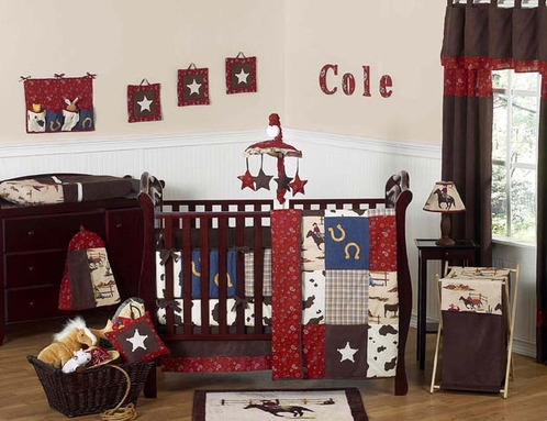 Wild West Western Horse Cowboy Baby Bedding - 9 pc Crib Set - Click to enlarge