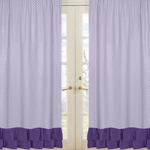 Window Treatment Panels for Lavender, Purple, Black and White Sloane Collection - Set of 2