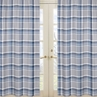 Window Treatment Panels for Navy Blue and Grey Plaid Boys Collection - Set of 2