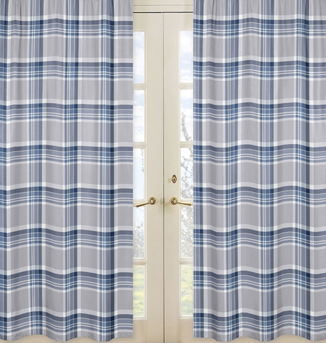Window Treatment Panels For Navy Blue And Grey Plaid Boys