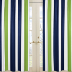 Window Treatment Panels for Navy Blue and Lime Green Stripe Collection - Set of 2