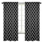 Window Treatment Panels for Red and Black Trellis Collection by Sweet Jojo Designs - Set of 2
