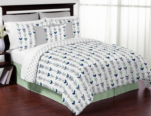 Grey, Navy Blue and Mint Woodland Arrow 3pc Full / Queen Bedding Set by Sweet Jojo Designs - Click to enlarge