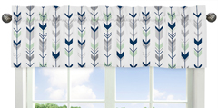 Window Valance for Grey, Navy Blue and Mint Woodland Arrow Collection by Sweet Jojo Designs
