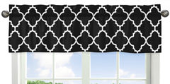 Window Valance for Red and Black Trellis Collection by Sweet Jojo Designs