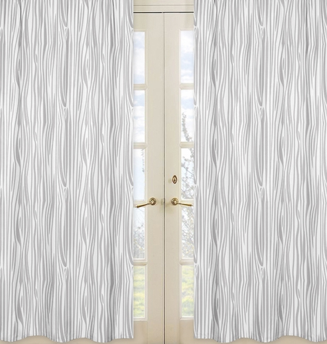 Wood Grain Print Window Treatment Panels For Navy And