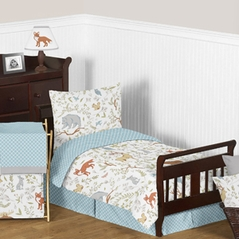Woodland Animal Toile Boy or Girl Toddler Bedding - 5pc Set by Sweet Jojo Designs