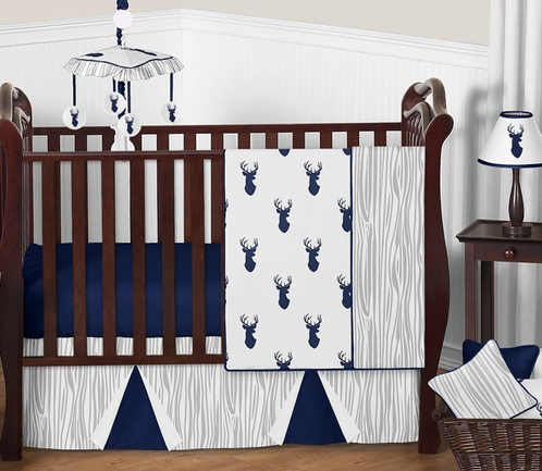 Navy and White Woodland Deer Baby Bedding - 4pc Boys Crib Set by Sweet Jojo Designs - Click to enlarge