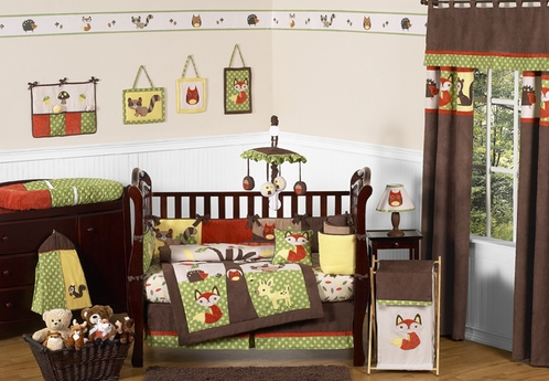 Woodland Forest Animals Baby Bedding - 9pc Crib Set by Sweet Jojo Designs - Click to enlarge