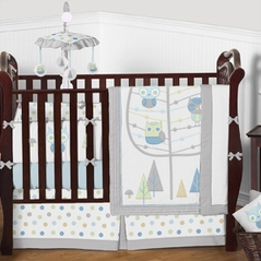 Woodland Owl Friends Baby Bedding - 9pc Boys Crib Set by Sweet Jojo Designs