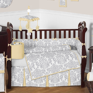 Yellow and Gray Avery Baby Bedding - 9pc Crib Set by Swee...
