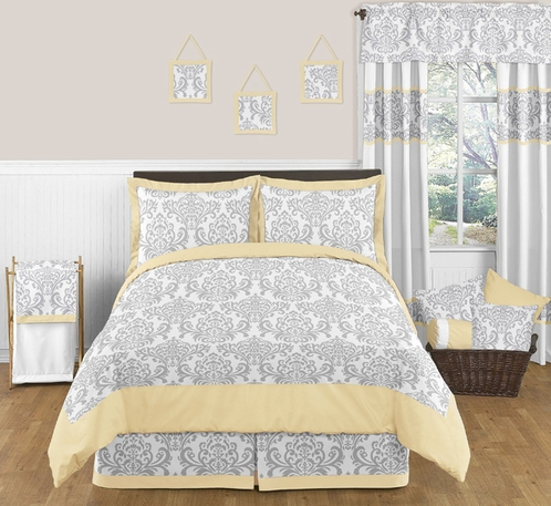 Yellow and Gray Avery Childrens and Kids Bedding - 3pc Full / Queen Set by Sweet Jojo Designs - Click to enlarge