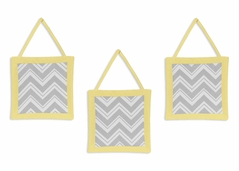 Yellow and Gray Chevron Zig Zag Wall Hanging Accessories by Sweet Jojo Designs