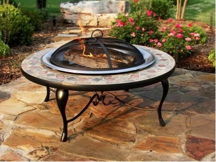 Asia Direct 40 Inch Copper And Slate Fire Pit Table With