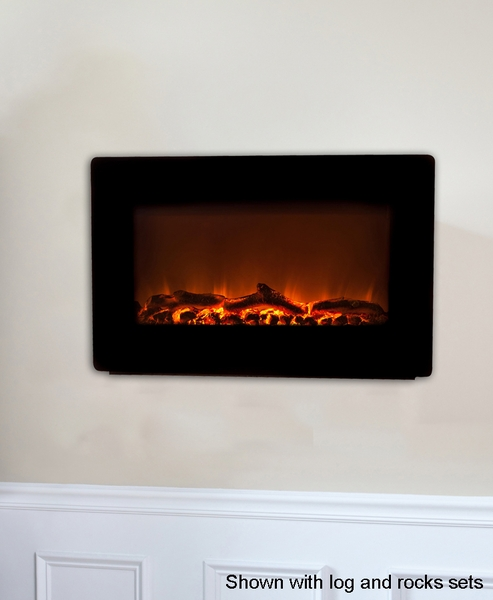 > Fire Sense Black Wall-Mounted Electric Fireplace with Heater