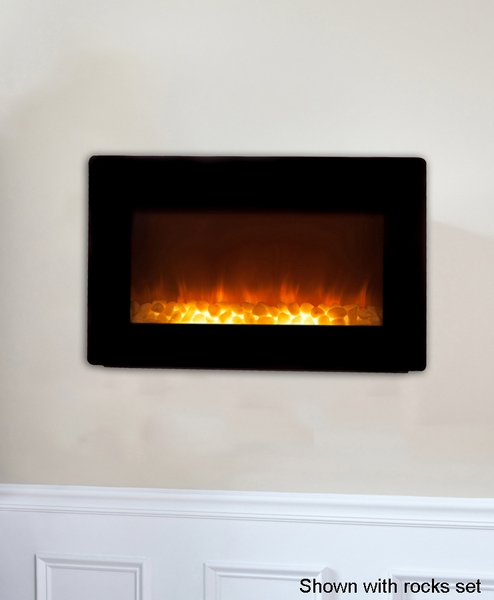 fire sense black wall mounted electric fireplace with heater