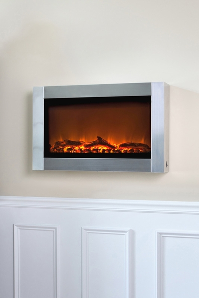 Fire Sense Stainless Steel Wall-Mounted Electric Fireplace with Heater - Sense Stainless Steel Wall-Mounted Electric Fireplace With Heater