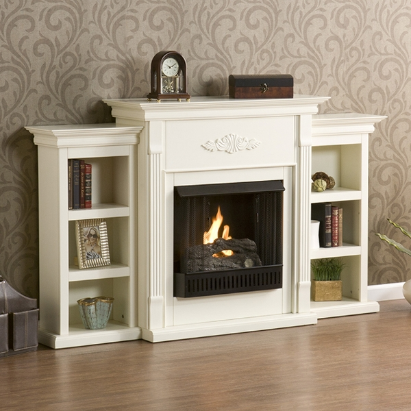 fireplaces sei fireplaces fredricksburg gel fireplace w bookcases
