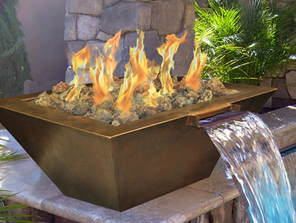 Hearth Products Controls Sedona Square Hammered Copper Gas