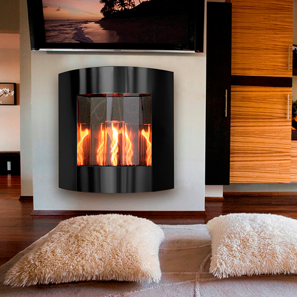 Inspiration Wall Hanging Gel Fuel Fireplace In Black Finish