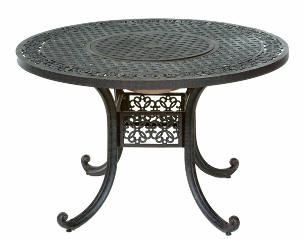 Meadow decor athena 48 inch round aluminum patio table with fire pit