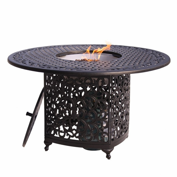 48 Inch Round Aluminum Patio Dining Table With Propane Fire Pit