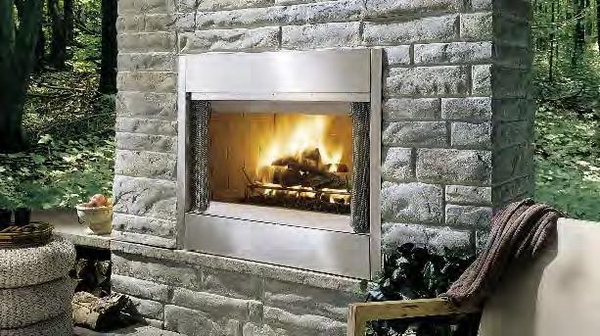 al fresco stainless steel outdoor wood burning fireplace 42 inch