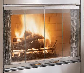 how to clean glass fireplace doors