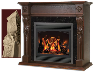 napoleon westchester large carved wooden mantel for