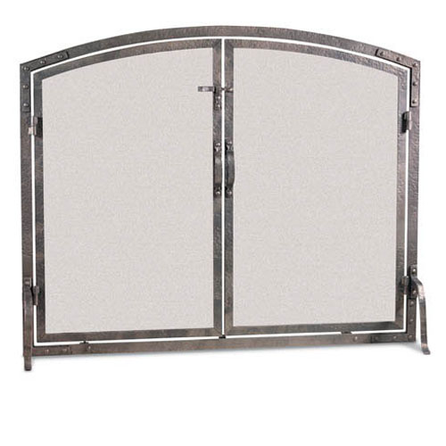 Pilgrim Old World Forged Iron Arched Fireplace Screen with Doors - Old World Forged Iron Arched Fireplace Screen With Doors