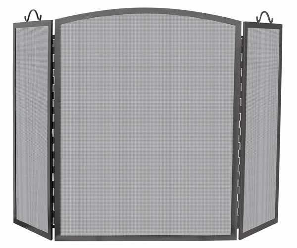 uniflame large 3 panel olde world iron fireplace screen