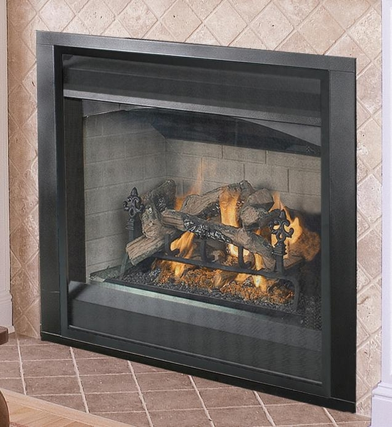 natural gas fireplace with performance burner and logs millivolt