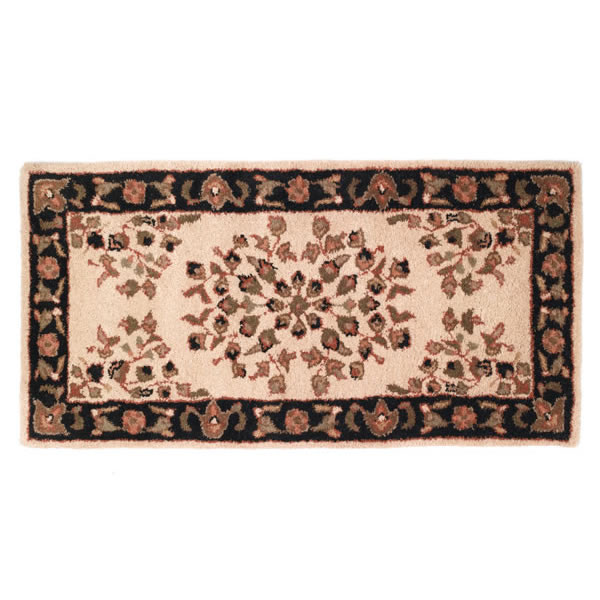 Woodfield Beige Rectangular Wool Oriental Hearth Rug 22