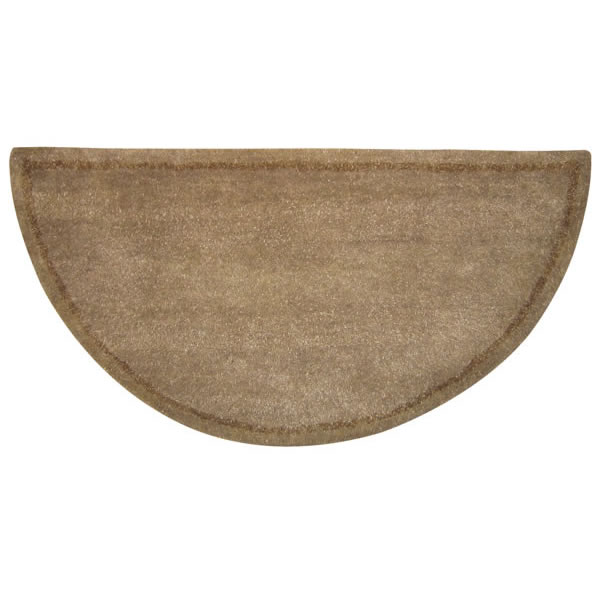 Woodfield Beige With Border Contemporary Half Round Wool