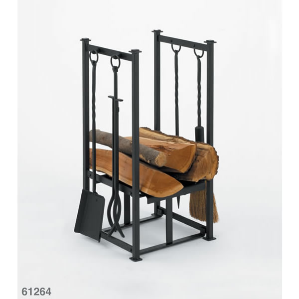Log Baskets & Wood Holders > Woodfield Black Log Holder with Fireplace - Similiar Fireplace Log Holder Keywords
