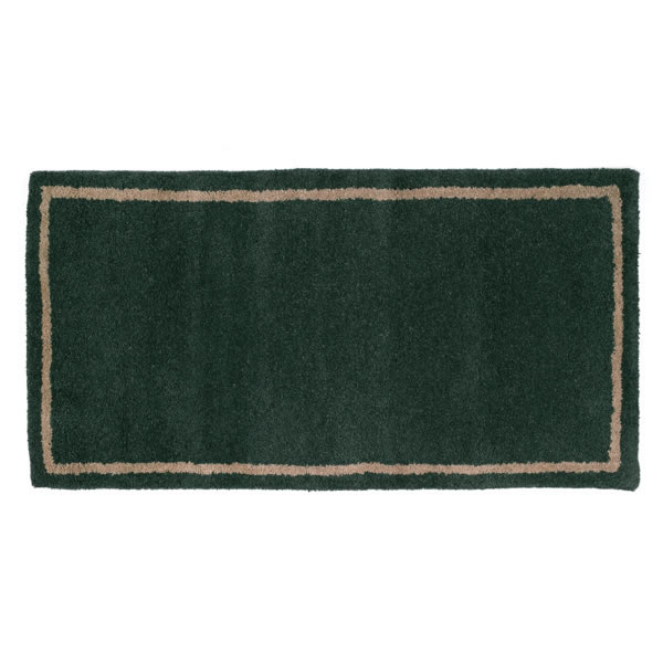 Fireplace Rug Wool: Woodfield Green With Border Contemporary Rectangular Wool