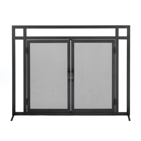 Woodfield Mission Style Black Wrought Iron Fireplace Hearth Screen with  Doors - 61235 - Mission Style Black Wrought Iron Fireplace Hearth Screen With