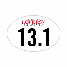 "Love Run Philadelphia Half Marathon: ""13.1"" 4""x6"" Oval Magnet - White<br><b>Pre-order: Ships in two weeks</b>"