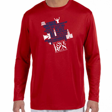 Love Run Philadelphia Half Marathon: '2017 Map' Men's LS Tech Tee - Cherry Red - by New Balance<br><font color=red><i>Check back after the event</i></font>