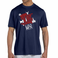 Love Run Philadelphia Half Marathon: '2017 Map' Men's SS Tech Tee - Navy - by New Balance<br><font color=red><i>Check back after the event</i></font>