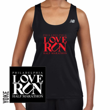 Love Run Philadelphia Half Marathon: 'Big Logo' Women's Racerback Tech Singlet - Black - by New Balance<br><font color=red><i>Check back after the event</i></font>