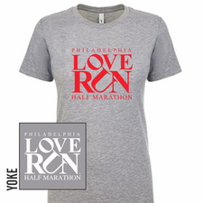 Love Run Philadelphia Half Marathon: 'Big Logo' Women's SS Fashion Tee - Heather Grey - by Next Level<br><font color=red><i>Check back after the event</i></font>